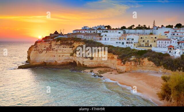 Sunset at Algarve coast, Carvoeiro, Portugal - Stock Image