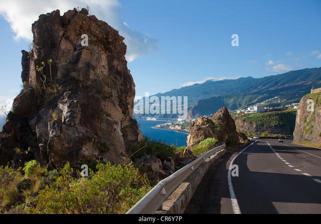 Coastal road at Santa Cruz, La Palma, Canary Islands, Spain, Europe, Atlantic Ocean - Stock Image