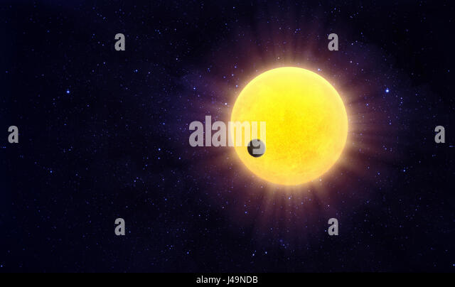 Exoplanet passing a starin a distant solar system - 3d illustration - Stock-Bilder