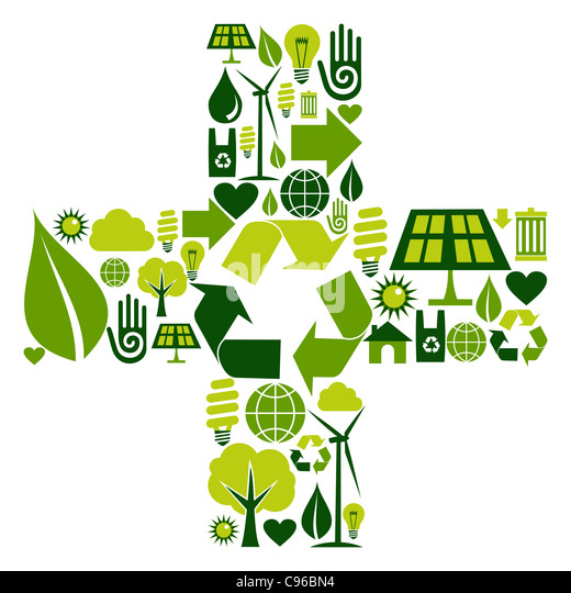 Sum symbol made with environmental icons set - Stock Image