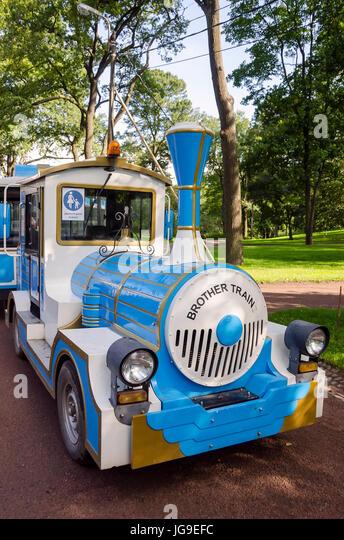 Peterhof Alexandria Park Brother Train tourist tram near Saint Petersburg, Russia - Stock Image