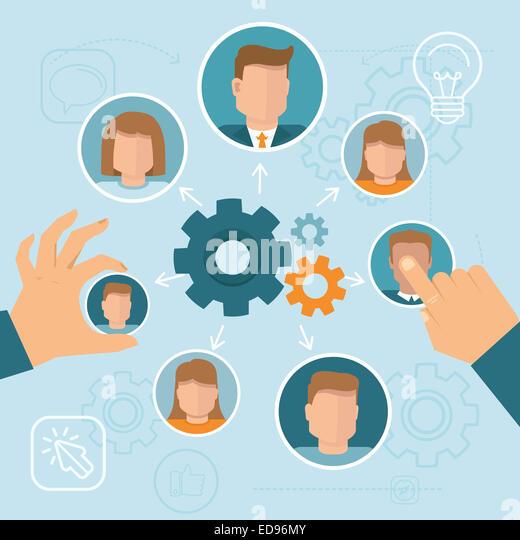 Human resource management concept in flat style - Stock-Bilder