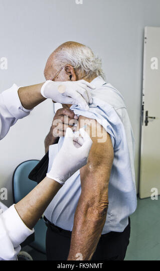Campaign of vaccination against influenza - Stock Image