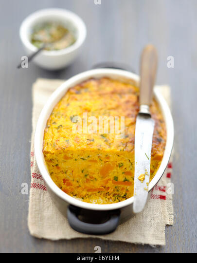 Carrot terrine,chervil sauce - Stock Image