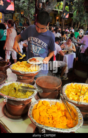 Peru Lima Barranco District Parque Municipal Restaurante Rustica restaurant business crowded popular dining dinner - Stock Image