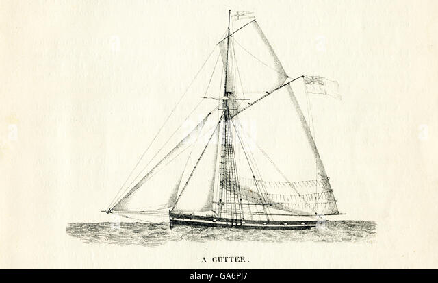 The ship pictured here is a cutter. The illustration dates to the 1800s. - Stock-Bilder
