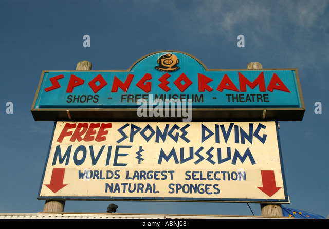 Tarpon Springs Florida Spongeorama Sign Greek community - Stock Image