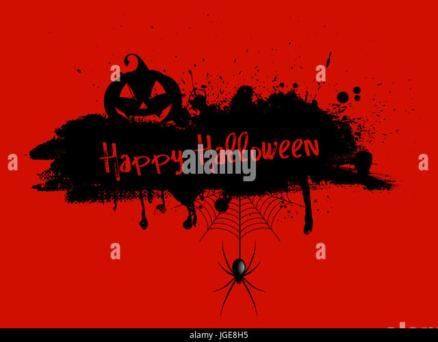 Grunge Halloween background with pumpkin and spider - Stock Image