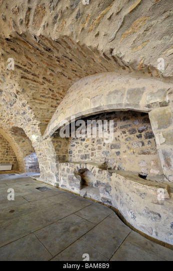 Abbey Sainte Marie d'Orbieu, the furnace in the bakery, Lagrasse, France. - Stock Image