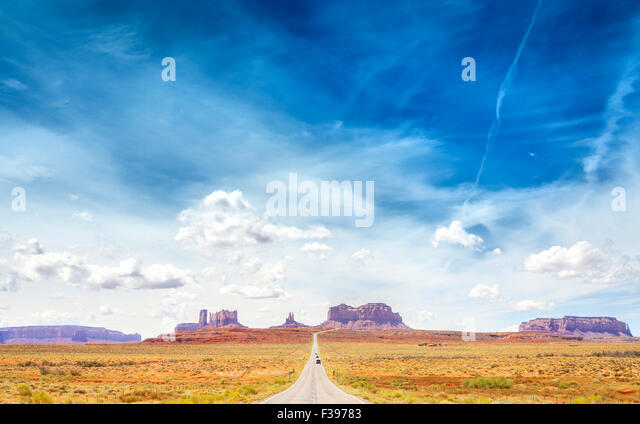 Country road to the Monument Valley, USA. - Stock Image