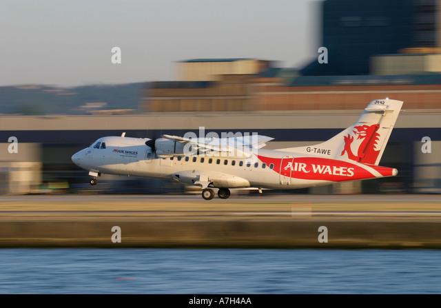 ATR 42 300 Air Wales landing - Stock Image
