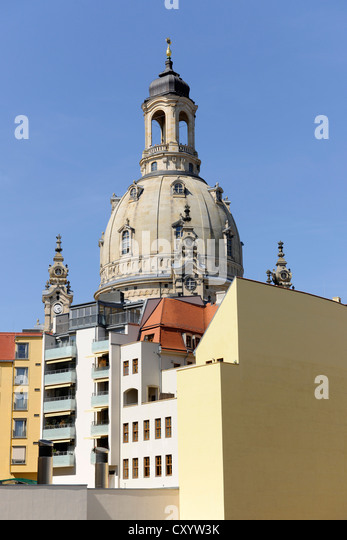 Architecture surrounding the Frauenkirche, Church of Our Lady, Dresden, Saxony - Stock Image