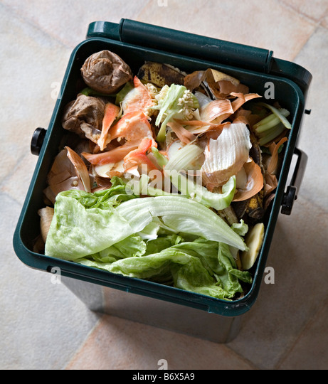 Food scraps in kitchen recycling compost bin Wales UK - Stock Image