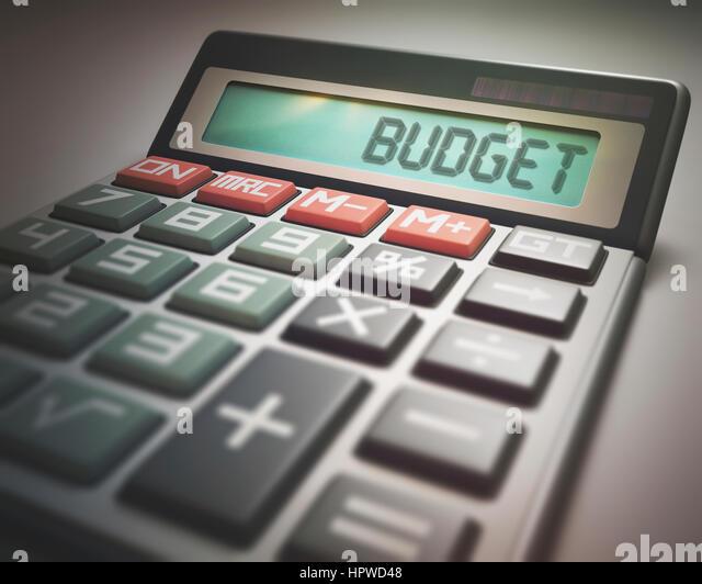 Calculator with the word budget, illustration. - Stock-Bilder