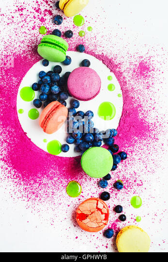 Art of food patterns (with macarons and blueberry) - Stock Image