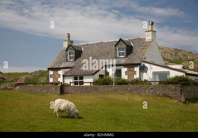 Traditional cottage Iona Mull Scotland - Stock-Bilder