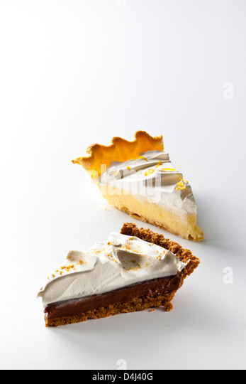 Pie duo: Mexican Chocolate Cream Pie and Lemon Cream Pie - Stock Image