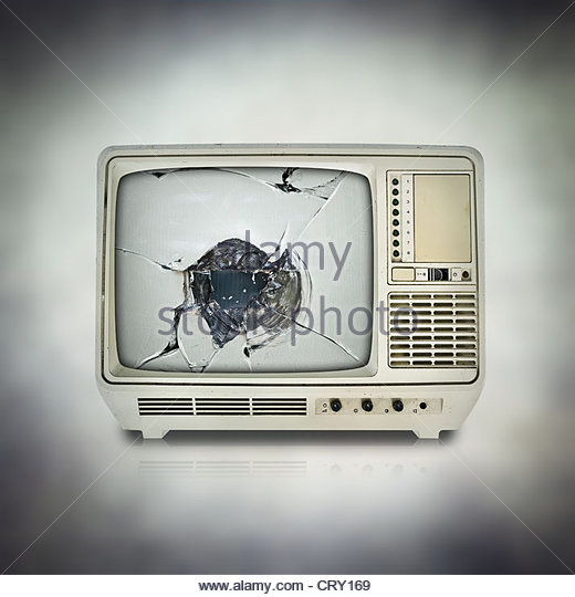 broken TV screen - Stock Image