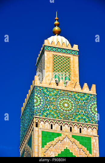 Casablanca Morocco Hassan II Mosque tower detail - Stock Image