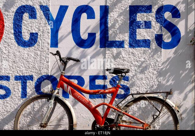 Bicycle with graphic design ; Devlali ; Maharashtra ; India November 2008 - Stock Image