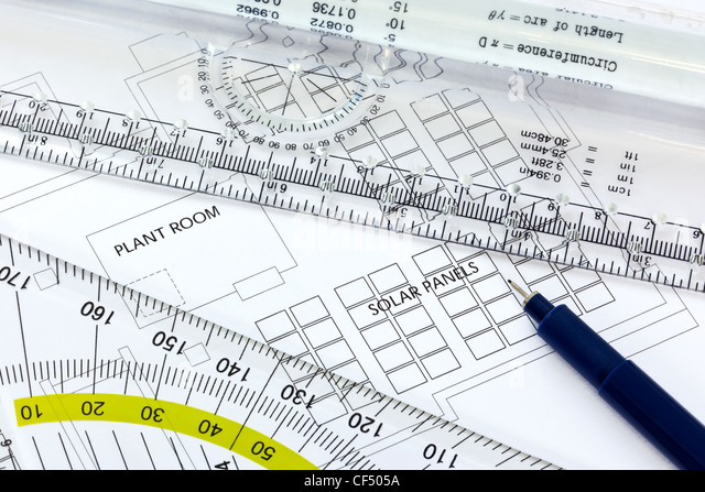 Still life photo of a drawing for some rooftop solar panels with pen and ruler - Stock-Bilder