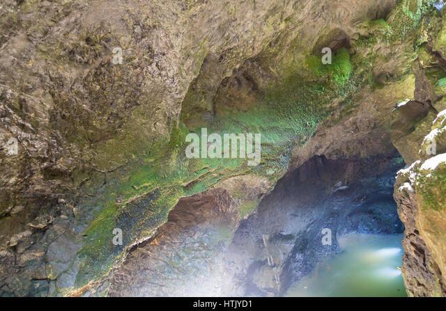 Eroded limestones in Mchishta River in Abkhazia - Stock Image