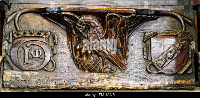 A 15th century misericord, depicting a Pelican feeding her chicks, All Saints Church, North Street, City of York, - Stock Image