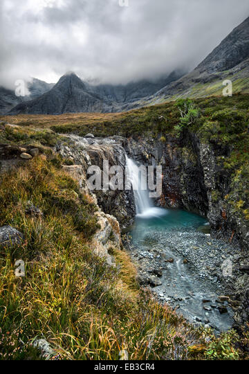 UK, Scotland, Fairy Pools waterfall on misty day - Stock Image