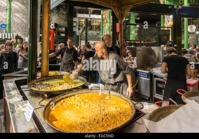 Boroughs Market, Food Stall,  London United Kingdom, - Stock Image