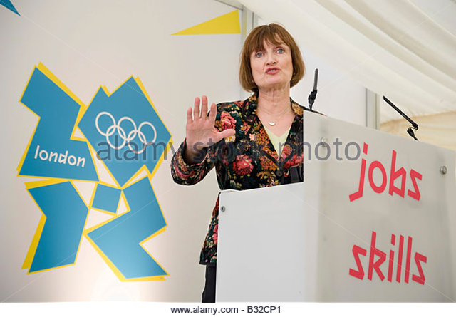 Olympic Minister Tessa Jowell at the launch of the Plant Training Centre on the Olympic Park site in Stratford - Stock Image