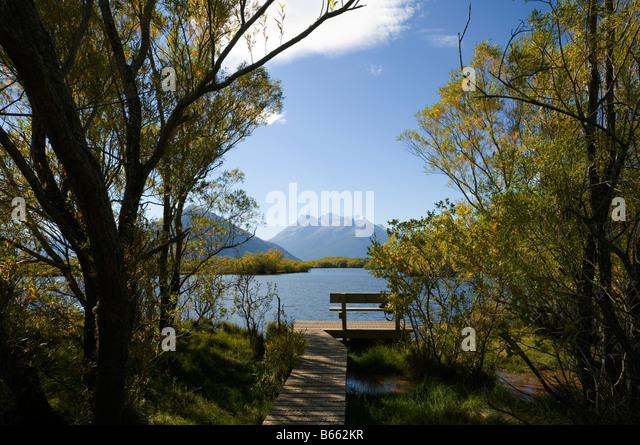 Mount Earnslaw, or Pikirakatahi, from the lagoons, Glenorchy, South Island, New Zealand - Stock Image