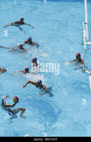 serbia versus against kazakstan water polo team competition action at world swimming championship in rome 2009 - Stock Image