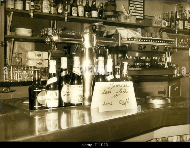 Mar. 03, 1977 - Parisian cafes are protesting the insufficient prices at which they must sell coffee and half-pints - Stock Image