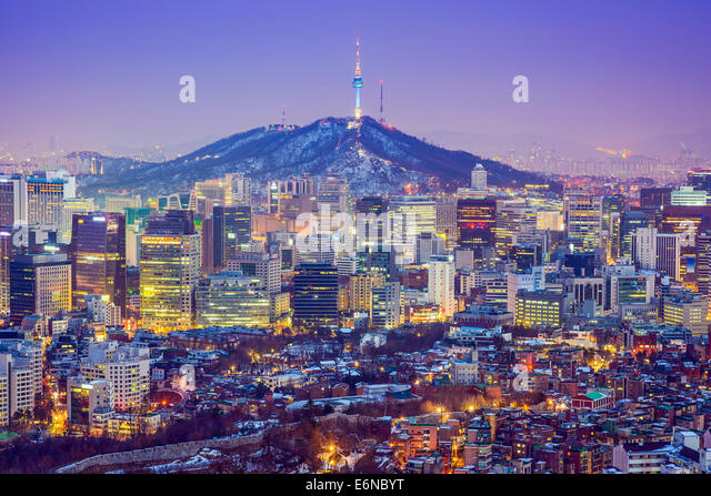 Seoul, South Korea city skyline at twilight. - Stock Image