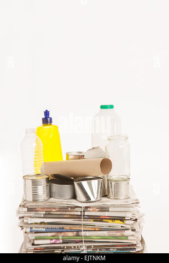 Studio Shot Of Glass, Plastic, Metal And Paper For Recycling - Stock Image