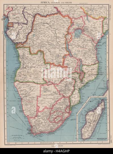 SOUTHERN AFRICA. Belgian Congo Rhodesia Bechuanaland Tangyanika 1944 old map - Stock-Bilder