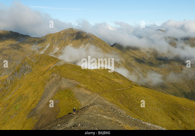 The ridge east of Mount Luxmore, Kepler Track, South Island, New Zealand - Stock Image