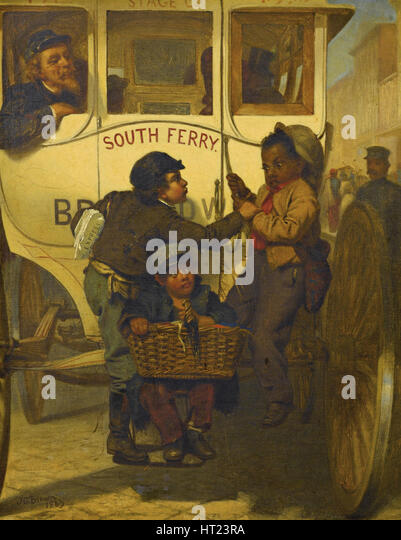 Colored People Not Allowed on This Line, 1863. Artist: Brown, John George (1831-1913) - Stock Image