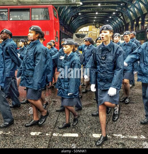 RAF Cadets in the Lord Mayor's Show London - Stock Image