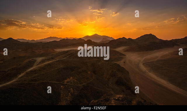 In the picture the Egyptian desert rocks at sunset. - Stock Image
