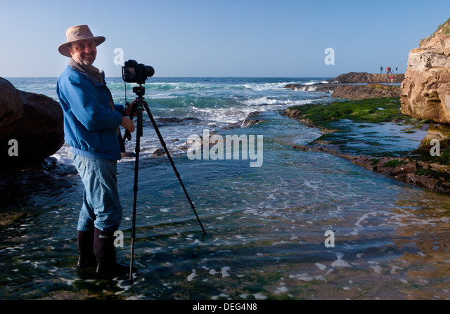 National Geographic photographer Frans Lanting at work on the coast of California. - Stock Image