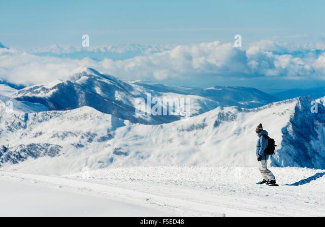 Snowboarder, Gudauri ski resort, Georgia, Caucasus region, Central Asia, Asia - Stock Image