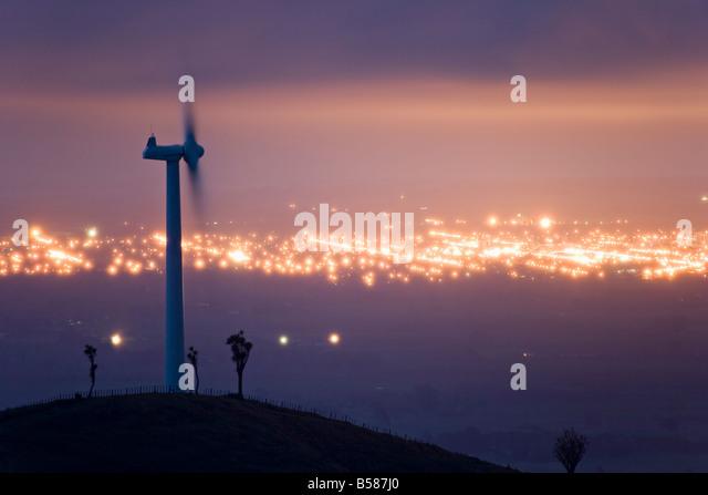 Te Apiti Wind Farm at dawn, on the lower Ruahine Ranges, Manawatu, North Island, New Zealand - Stock Image
