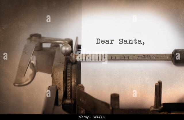 Vintage inscription made by old typewriter, Dear santa - Stock Image