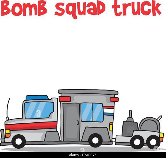 Bomb squad truck cartoon vector art - Stock Image