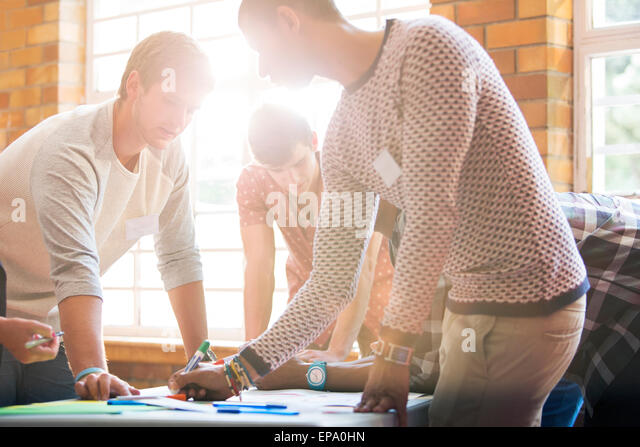 creative business people writing table - Stock Image