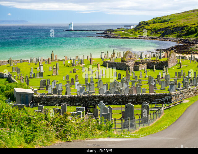 Old Church and Burial Ground, Kilnaughton Bay, Port Ellen Isle of Islay - Stock Image