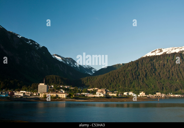 Downtown Juneau as viewed from Douglas Island, Southeast Alaska, Summer - Stock Image