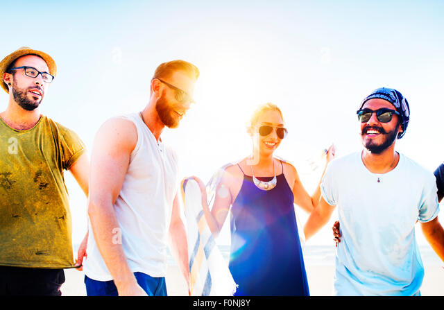 Friendship Bonding Relaxation Summer Beach Happiness Concept - Stock-Bilder