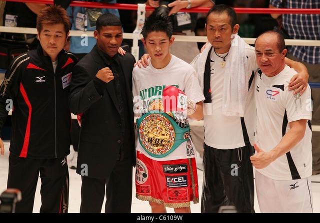 Boxing : Kazuto Ioka of Japan celebrates with his Champion belt during the WBC Minimum weight title bout . - Stock Image